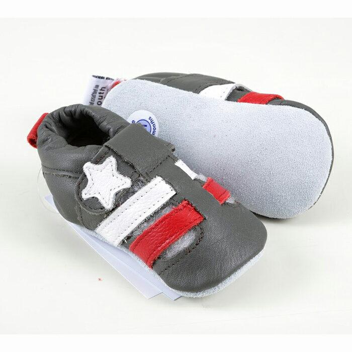 【hella 媽咪寶貝】英國 shooshoos 安全無毒真皮手工鞋/學步鞋/嬰兒鞋 黑紅涼鞋 HCR50 (公司貨)