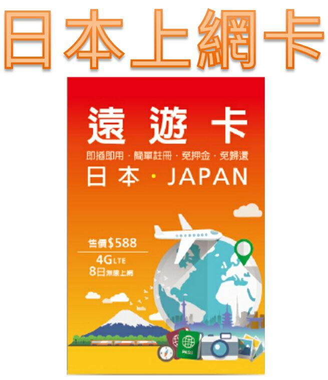 【日本上網卡】遠遊卡 出國旅遊日本 8 天吃到飽 高雄可店面取貨(運費已含)