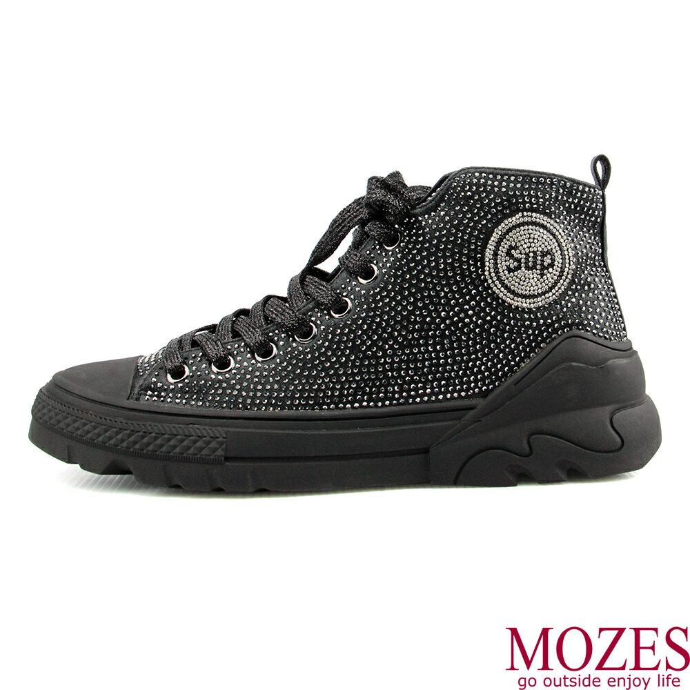 【MOZES】率性綁帶水鑽中跟氣墊中筒靴 4