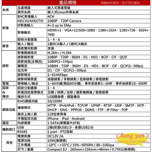 高雄/台南/屏東監視器 DHI-XVR5104HS H.264 4路全方位錄影機五合一XVR 大華dahua 主機
