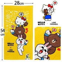 【esoxshop】Hello Kitty x Line Friends 純棉剪絨童巾 疊疊樂款 三麗鷗 Sanrio