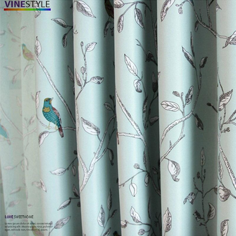 +日式插畫小鳥遮光窗簾【寬100*高130cm】可當窗簾或門簾+
