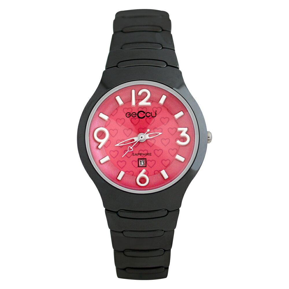 GECCU TC-1115 炫麗可愛心型切玻鏡面黑色陶瓷錶帶*5色 5