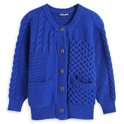 Little moni 法式拼接織紋毛衣外套