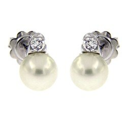 寶思精品正貨保證 Mikimoto 御本木18K白金AKOYA珍珠鑽石耳環7.5mm