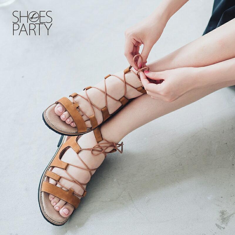 【S2-16018L】夏日必備真皮綁帶羅馬涼鞋_Shoes Party 0