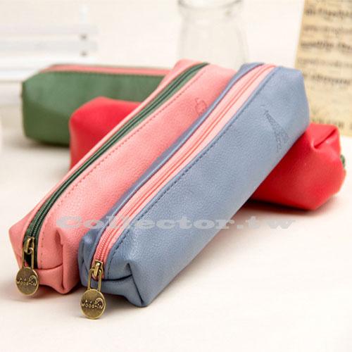 【L16091903】糖果色皮革四方筆袋 皮質文具收納袋 文具袋 創意筆袋
