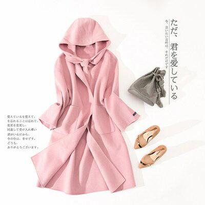 毛呢外套羊毛大衣-連帽純色綁帶長款女外套2色73ty49【獨家進口】【米蘭精品】
