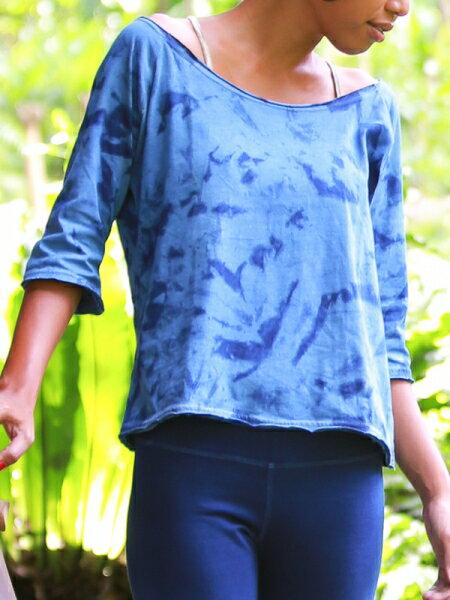 【Bali】100%有機棉紮染七分袖T恤 瑜珈服