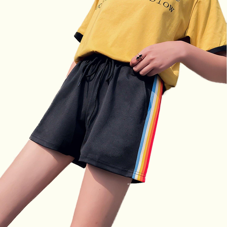 運動褲--青春活力運動女孩彩色線條鬆緊綁帶寬鬆雙口袋短褲(黑L-3L)-R234眼圈熊中大尺碼 0