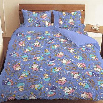 【UNIPRO】三麗鷗家族明星 Hello Kitty 雙子星 Little Twin Stars 酷企鵝 5X6.2尺 雙人床包組(枕頭套X2+床單X1) 55周年太空風 藍 三麗鷗正版授權 台灣精..