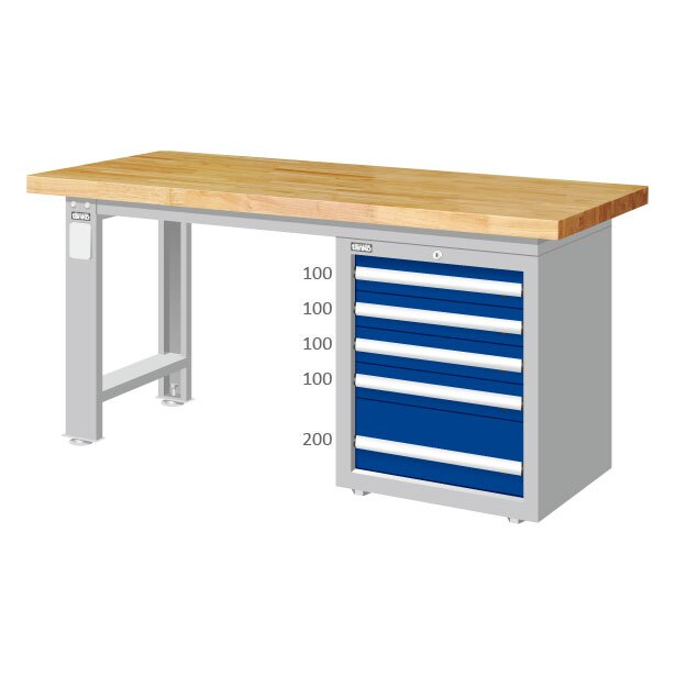 五層抽屜4+1工作桌 原木桌板 重型桌 耐重桌 實驗桌 工作檯 工作台 工廠作業桌 鑄造造模工作桌  高荷重型桌 長度1500/1800/2100 mm三種尺寸選擇【可力爾】 0
