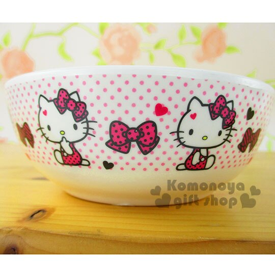 〔小禮堂〕Hello Kitty 美耐皿碗《粉.坐姿.蝴蝶結.愛心點點滿版.320ml》