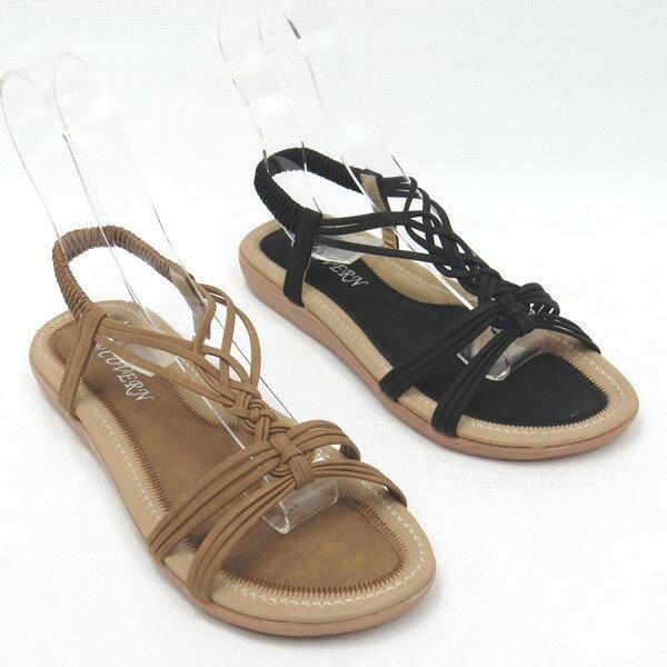 彩虹屋美鞋:*免運*時尚經典線條平底涼鞋17-A776(棕黑)*[彩虹屋]*現+預