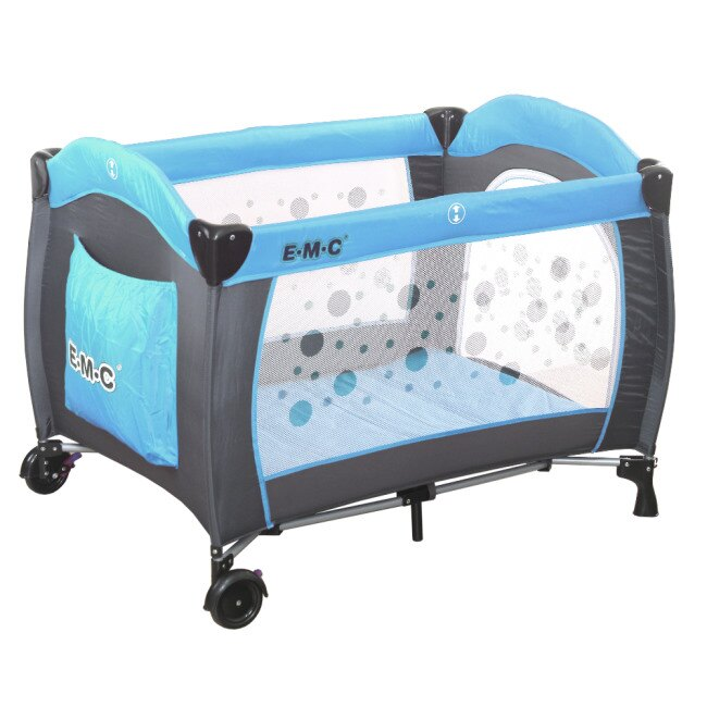EMC 嬰幼兒安全遊戲床(平安藍)加雙層架及尿布台