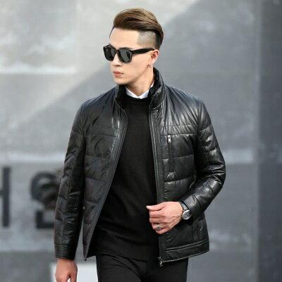 皮衣夾克外套-冬季立領純色休閒男夾克2色73pn26【獨家進口】【米蘭精品】 1