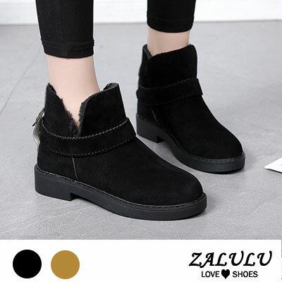 ZALULU愛鞋館 LE067 日系皮帶扣百搭平底短筒靴~偏小~黑  駝~36~40