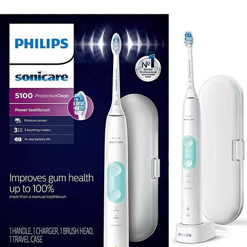 Philips 【美國代購】飛利浦 電動牙刷 Sonicare ProtectiveClean 5100 HX6857/11-白色