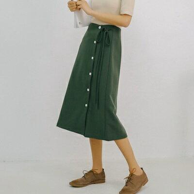 半身裙雪紡中長裙-純色時尚排扣繫帶女裙子2色73rw3【獨家進口】【米蘭精品】