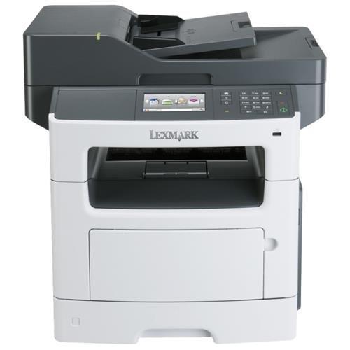 Lexmark MX517de Laser Multifunction Printer - Monochrome - Plain Paper Print - Desktop - Copier/Fax/Printer/Scanner - 45 ppm Mono Print - 1200 x 1200 dpi Print - Automatic Duplex Print - 1 x Input Tray 250 Sheet, 1 x Multipurpose Feeder 100 Sheet, 1 x Out