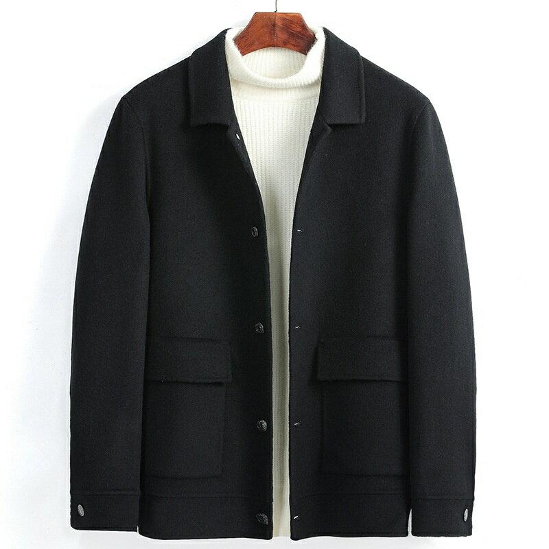 毛呢大衣短版風衣-翻領休閒純色保暖男外套3色73wk26【獨家進口】【米蘭精品】 0