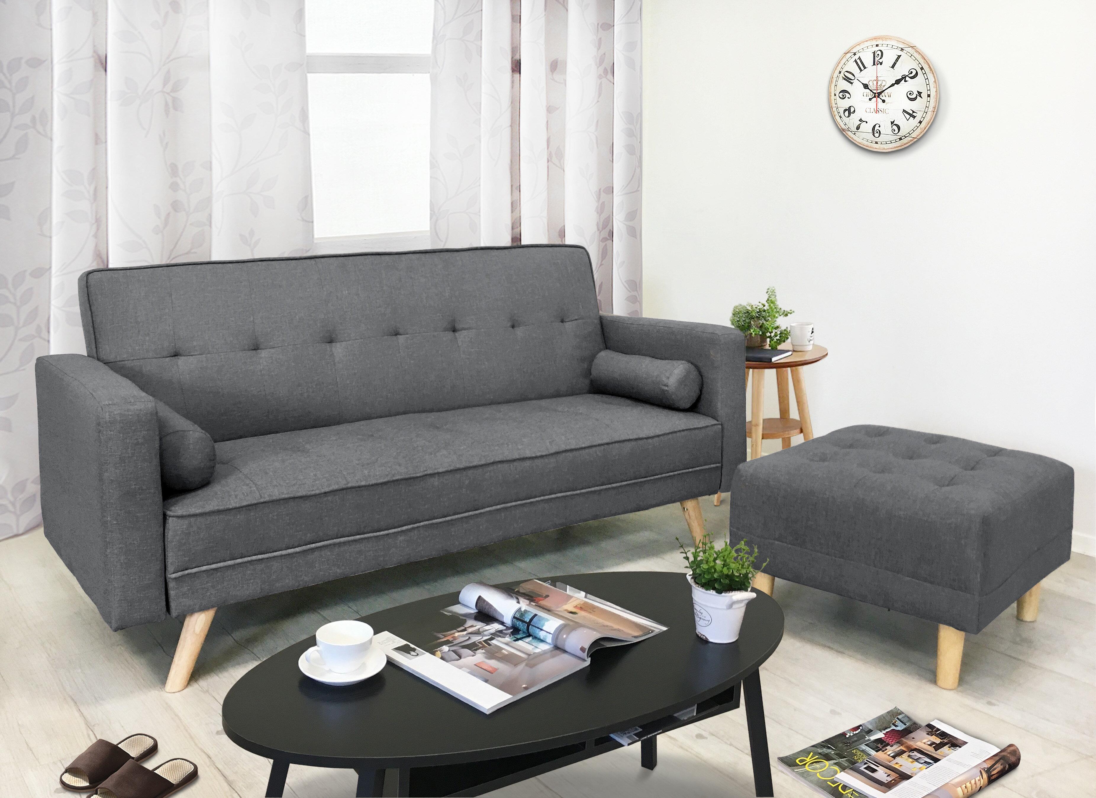 !新生活家具! 深灰 亞麻布 沙發床 L型沙發床 三人位沙發床 腳椅 三色可選《戴納》非 H&D ikea 宜家