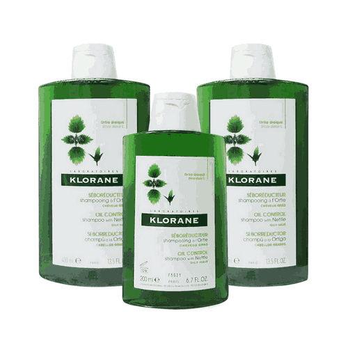 KLORANE蔻蘿蘭控油洗髮精400ml*2+控油洗髮精200ml*1