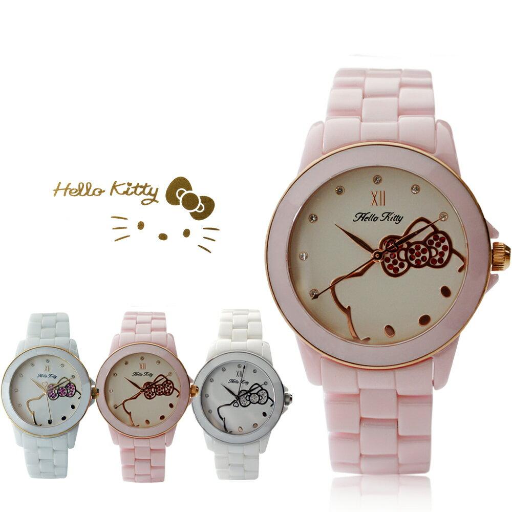 Hello Kitty LK673 三麗鷗正版授權 粉嫩色系晶鑽陶瓷石英腕錶 0