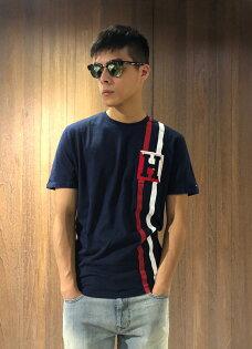 美國百分百【TommyHilfiger】T恤TH男圓領T-shirt短袖短TLogo深藍J146