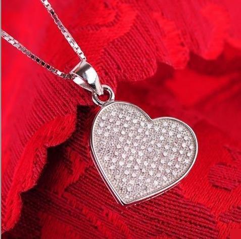 銀飾品 微鑲工藝 項鏈吊墜鎖骨短款 女愛心