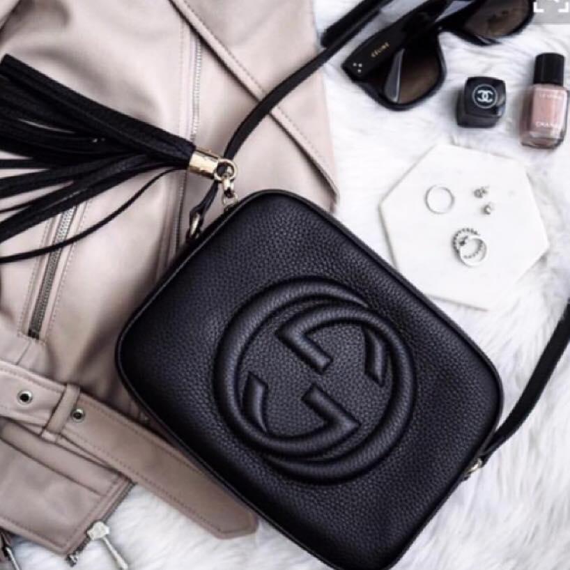 【Gucci】SOHO DISCO浮雕logo流蘇牛皮斜背包【全店免運】 ARIBOBO 艾莉波波