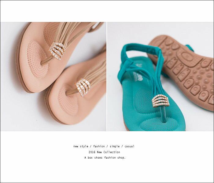 格子舖*【KDF309-45】夏日風情 柔軟乳膠墊 金屬水鑽 鬆緊彈性穿拖 舒適夾腳人字平底涼鞋 3色 2