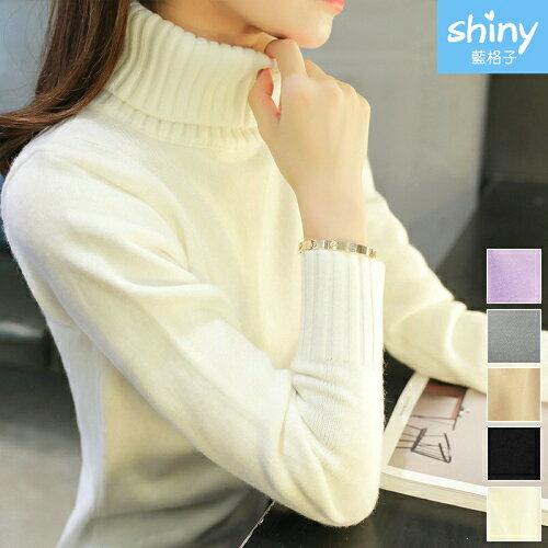 【V2247】shiny藍格子-溫暖冬日.純色高領針織毛衣長袖上衣