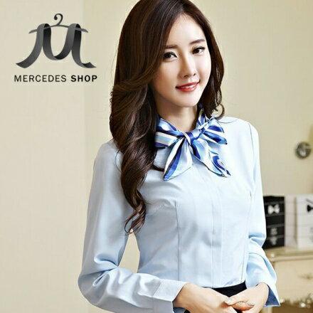 梅西蒂絲Mercedes Shop:《現貨出清5折》優雅氣質絲巾領OL百搭長袖襯衫-S-3XL-梅西蒂絲(現貨+預購)