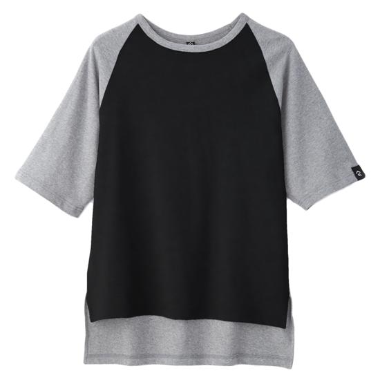 灰墨。拼接五分袖寬版上衣-麻花灰色款 0