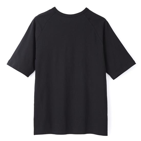 灰墨。拼接-中性寬版五分袖上衣-黑色 1