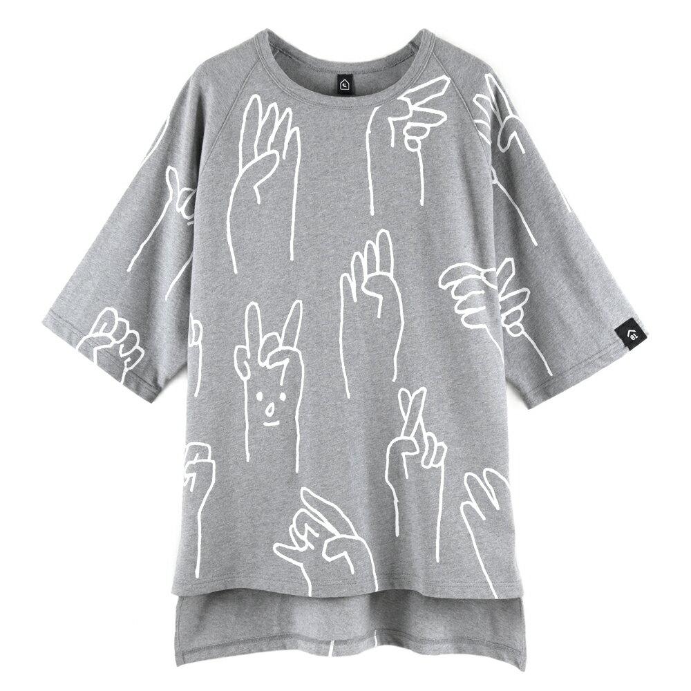 SAY Hi 中性寬版五分袖上衣-麻花灰色款 0