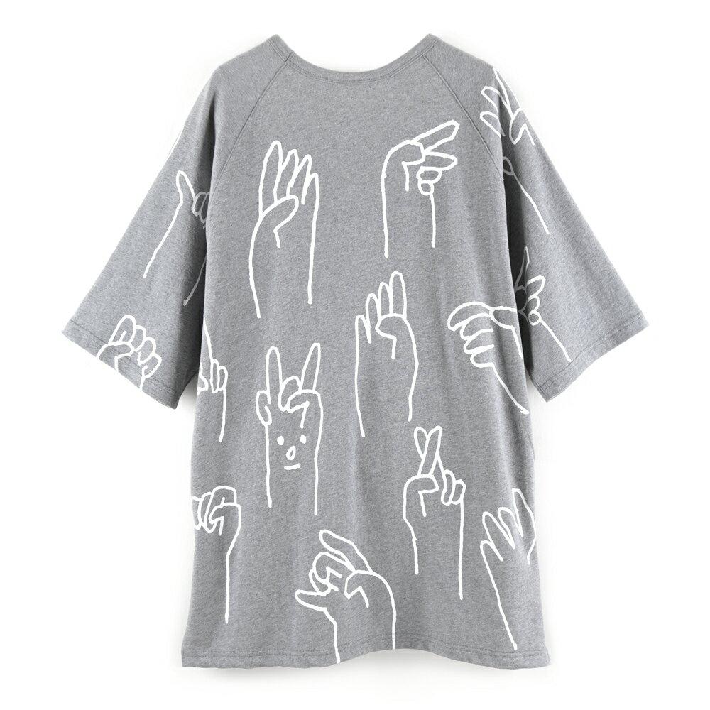 SAY Hi 中性寬版五分袖上衣-麻花灰色款 1