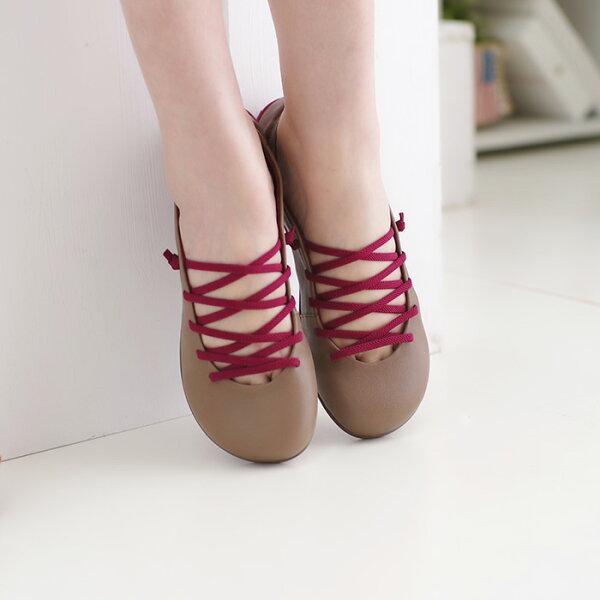 懶人鞋休閒鞋可可女鞋真皮平底鞋【SV9677】HappyLife