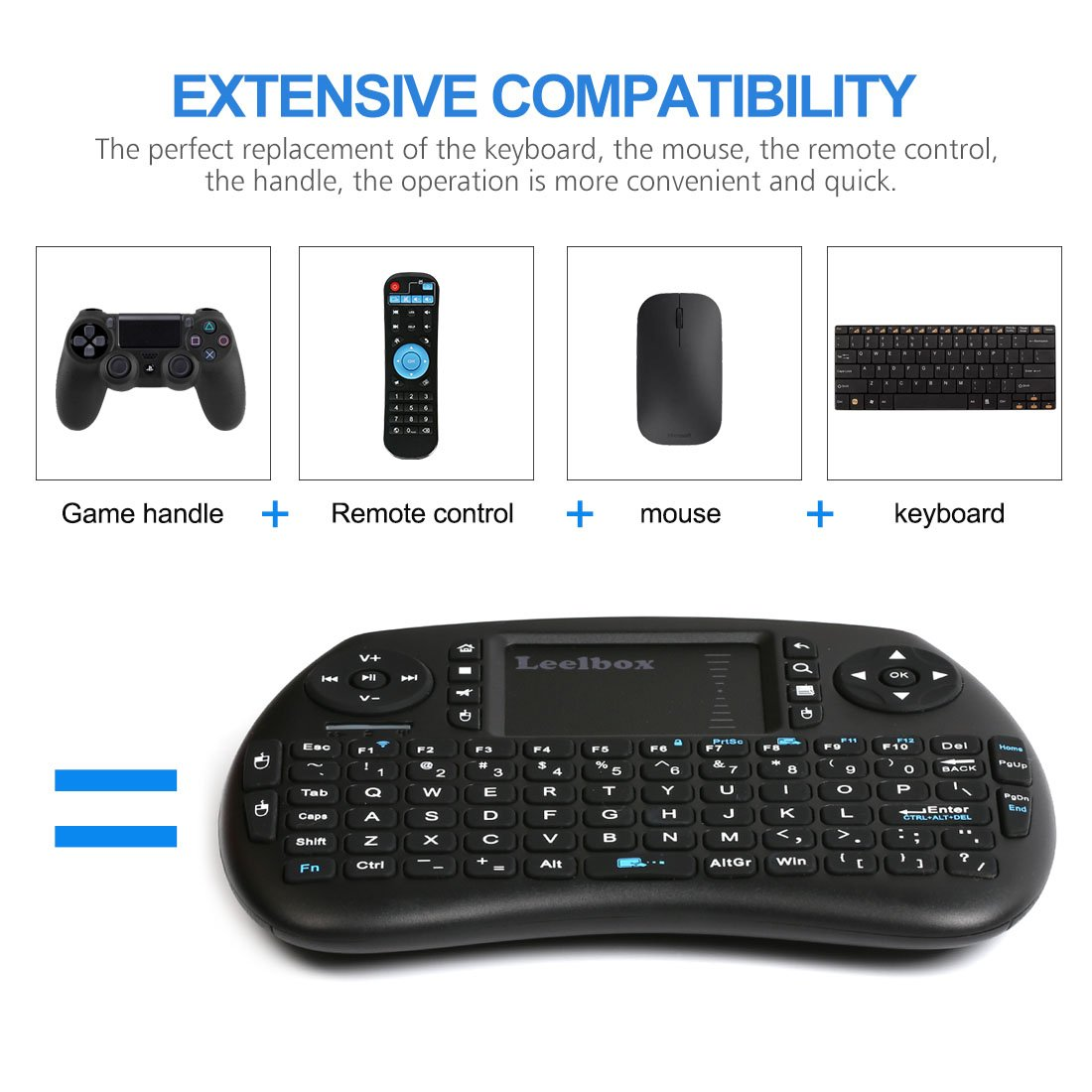 Leelbox 2 4Ghz Mini Wireless Keyboard with Mouse Touchpad Rechargeable  Combos for PC Pad Android TV Box