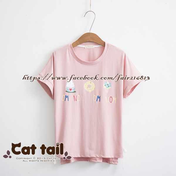 《貓尾巴》TS-0641日系甜品印花短袖T恤(森林系日系棉麻文青清新)