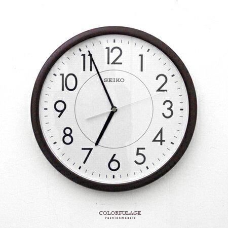 SEIKO精工掛鐘 品味咖啡色外框時鐘 面板夜光功能 滑動式秒針 柒彩年代【NG1724】原廠公司貨