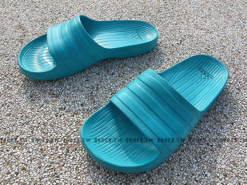 ADIDAS【S77990】DURAMO SLIDE 拖鞋 防水拖 一體成型 湖水綠 男女都有