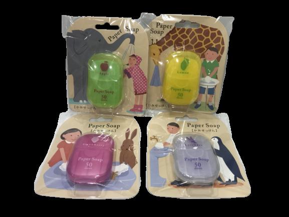 日本 CHARLEY 攜帶式 方便抽取 paper soap 紙香皂 50枚