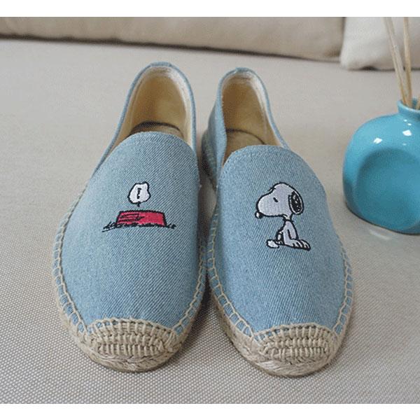 淺牛仔 snoopy 草編鞋 平底鞋 包頭鞋 便鞋 小白鞋 編織鞋 帆布鞋 懶人鞋 休閒鞋 歐美日韓 史奴比 史努比 ANNA S.