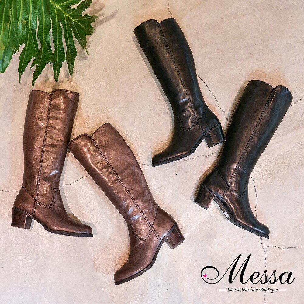 【Messa米莎專櫃女鞋】簡約優雅全牛皮木紋高跟長筒靴-二色 - 限時優惠好康折扣