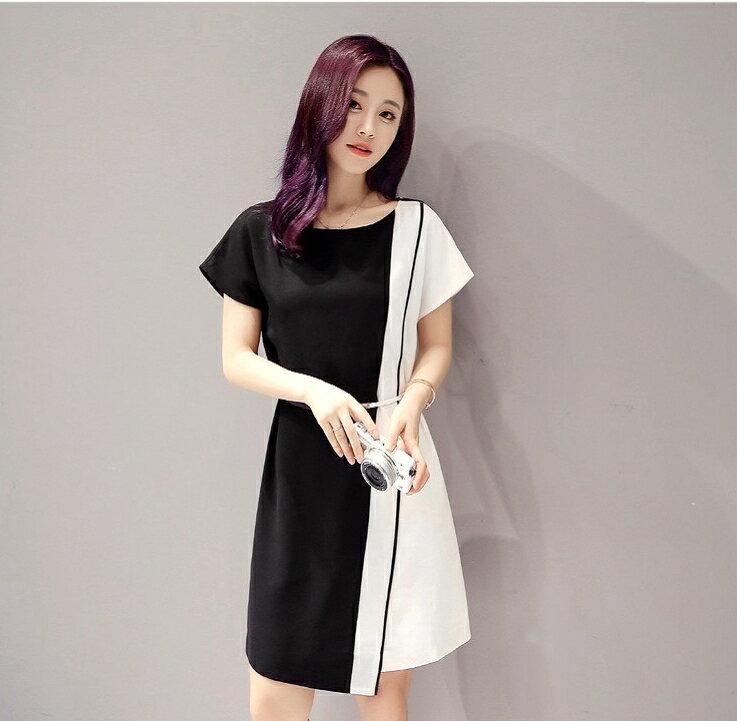 經典時尚.黑白撞色拼接短袖連身裙- shiny藍格子【V2829】 2
