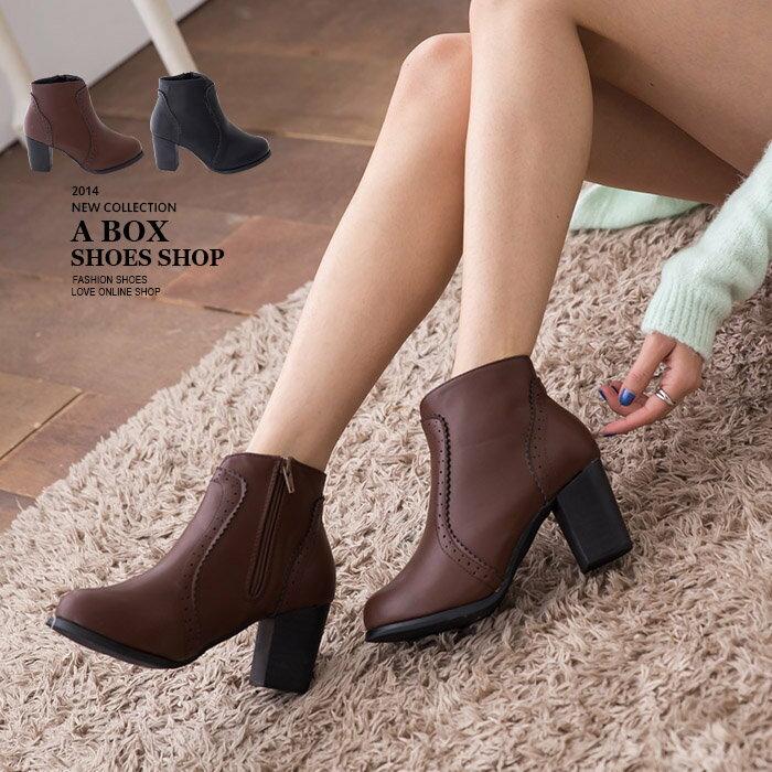 【KM062-6】歐美英倫時尚牛津雕花素面皮革短筒粗跟靴子馬丁靴 35-40 2色 - 限時優惠好康折扣