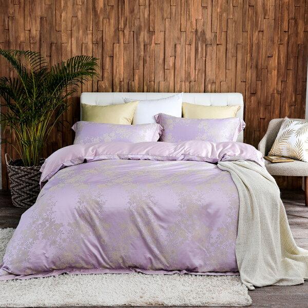 床包被套組天絲緹花四件式雙人薄被套加大床包組典雅花開[鴻宇]台灣製M2558