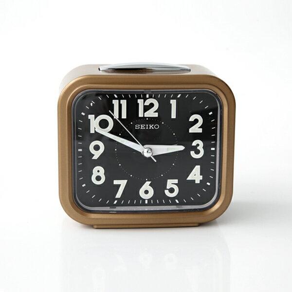 SEIKO金色黑面方型夜光指針鬧鐘【NV35】柒彩年代